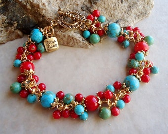 Multi Gemstones Cluster Bracelet.Red Coral /Turquoise Stone/Jade.Toggle plated 24k Gold.Beadwork.Bridal.Mother's.Valentine.Pastel.Handmade.