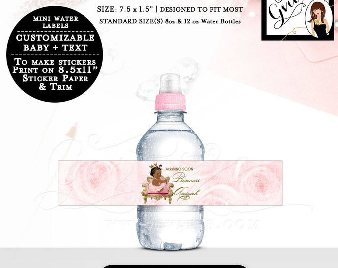 """MINI Water Bottle Labels, baby shower pink and gold stickers, personalized water label Fits 8oz-12oz. Size: 7.5 x 1.5""""/7 Per Sheet."""