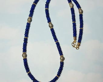 "Rare GIBEON METEORITE and Lapis Lazuli 20"" Inch Long Bead Necklace With 14K Gold Fill Beads And Clasp Galactic Blueberry Necklace"