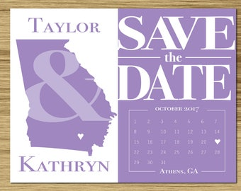 CUSTOMIZED Flat Blank Card, Save The Date, State Silhouette, Lilac, Made To Order