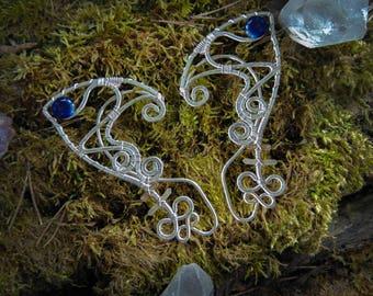 Silver elf ears, Elf ears, Fantasy elf ear cuffs,  Elven ear earrings, Elvish ears, Non-piercing earrings, Elven jewelry, ear wraps