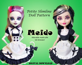 Meido Maid Cafe lolita dresses sewing clothes pattern for Petite Slimline Fashion girls: High, Ever After, Monster, Dal, obitsu, Super Hero