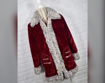 Vtg 60s/70s Burgundy Velvet Coat w/Shaggy Grey Faux Fur Trim