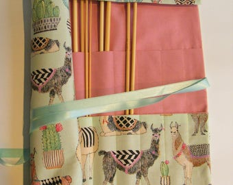 Straight Knitting needle organiser. Knitting needle roll. Alpaca  fabric
