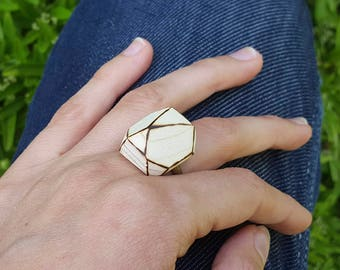 Wood burned ring Wooden gem cocktail geometric abstract pyrography modern minimalist adjustable size handmade ring 5th anniversary gift