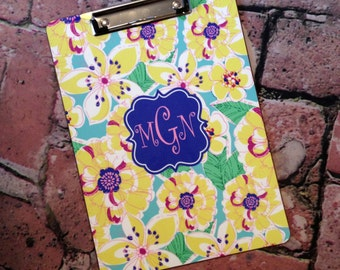 Custom Mary Beth Goodwin Design Clipboard - Choice of 18 Patterns, Frame, Monogram - Personalized Clip Board 2 Sided Dry Erase Surfa