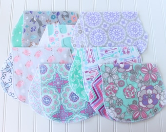 Baby Girl Burp Cloths - Set of 7 - Baby Shower Gift - Aztec - Arrows - Floral - Baby Gift