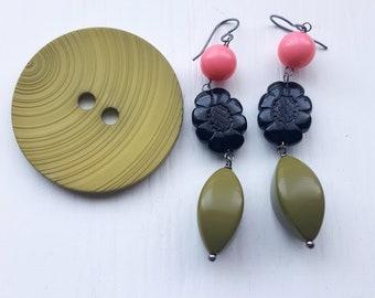 every day is a battle earrings - vintage beads - army green, black, bubblegum pink - flower earrings - big earrings, chunky jewelry