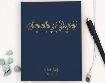 Real Gold Foil Wedding Guest Book Gold foil Guest Books Custom Guestbook Modern Wedding Script Wedding - Navy