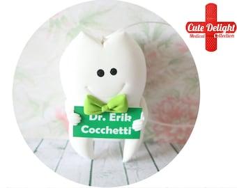 Custom Dentist Tooth Brooch, green bow tie tooth, tooth pin, teeth pins, tooth pins, tooth brooch, teeth brooch, dental pin, dentist brooch