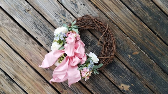 Spring Wreath, Summer Wreath, Mother's Day Wreath, Wedding Wreath, Rose and Hydrangea Wreath, Ready To Ship
