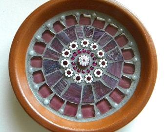 Purple White Mosaic Mandala Ring Holder, Engagement Ring Dish, National Best Friend Day, Gift for Bride, Mosaic Trinket Dish, Grandma Gift