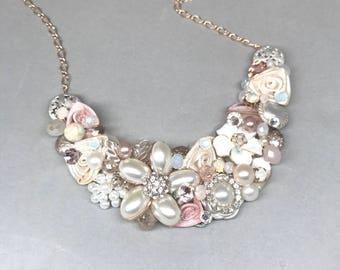 Blush Bridal Necklace- Blush Wedding Necklace- Pearl and Rhinestone Necklace- Blush Bib Necklace- Statement Necklace- Pearl Bridal Bib-