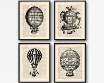 Hot Air Balloon Set, Balloon Poster Gift, Cool Sister Gift, Steampunk Machine, Coworker Gift Set, Funny Kids Wall Art, Gift for Her 15th S17