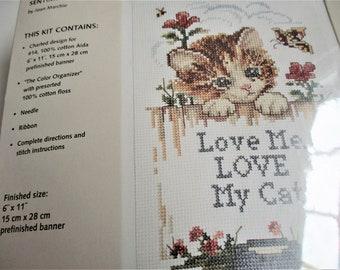 Love My Cat compté point de croix Purrfect Sentiment Kit 6 x 11 bannières Kit JCA Inc croix point Tenture murale bannière Vintage chat amoureux cadeau