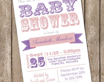 Girl baby shower invitation, typography, pink, purple, printable invitation 2013-0118-K1-1
