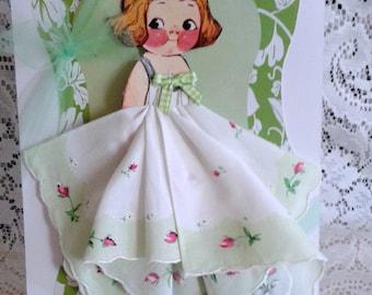 Dolly Dingle Paper Doll Hankie Card Melanie