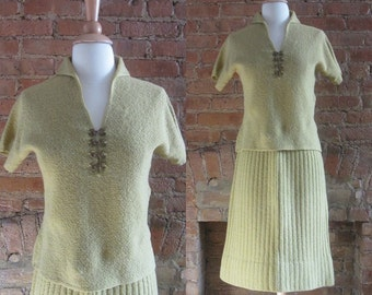 1950s Kimberly buttercup yellow wool knit skirt suit | 50's Mid Century Classic