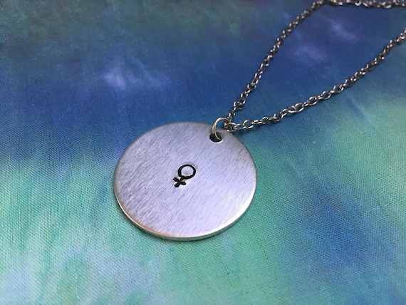 Female Symbol Necklace Feminist Necklace Venus Symbol