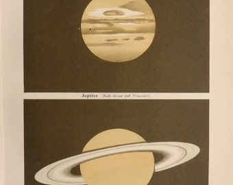 "Antique print.1898.Lithograph.Planets:Jupiter and Saturn.120 years old print.Old Astronomy print.6.6x9.8"" or 17x25 cm.Vintage print."