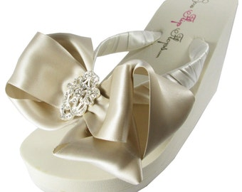 Bridal Flip Flops with Oatmeal Champagne Satin bow and Rhinestone Bling for the Bride and Bridesmaids