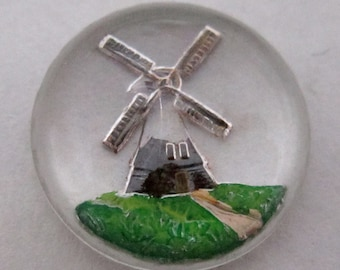 4 pcs. vintage glass reverse painted intaglio windmill cabochons 13mm - f4321