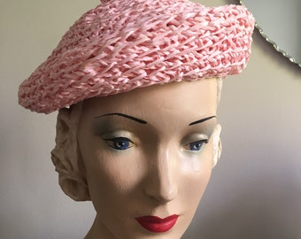 Vintage 1950's Deadstock Pink Woven Raffia Beret Style Hat