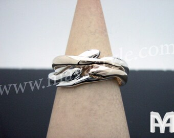 Sterling Silver & 10K Gold Snake Ring - Bague de Serpent
