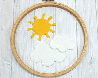 Sun and Clouds Felt Shapes, 9 pieces, Felt Die Cuts, Wool Blend Felt, Applique, Felt Crafts, Arts & Crafts, Felt Board Shapes