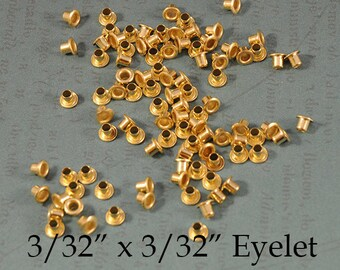 """Eyelets - 3/32"""" x 3/32"""" - Genuine Brass Eyelets - For EZ Rivet Tool System - 100 pieces"""