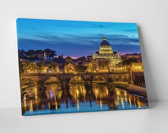 Rome Italy Downtown Skyline II Gallery Wrapped Canvas Print