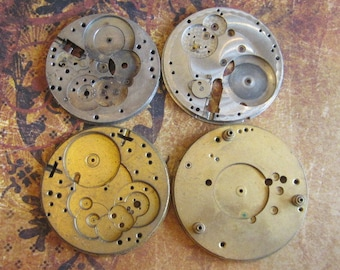 Vintage Antique Watch movements parts Steampunk - Scrapbooking N85