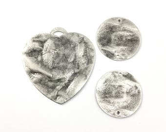 1 heart pendant and 2 connectors antique silver, 30mm and 50mm,#CH 407