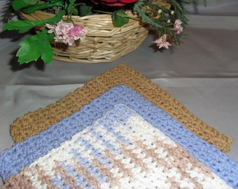 100% Cotton Wash Dish Cloth: SAND and SKY COLLECTION  Set of Three