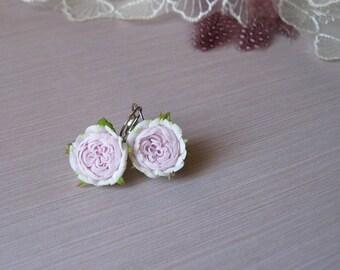 English rose earrings Pastel pink earrings Blush pink flower jewelry Floral wedding earrings Dusty pink earrings Spring flower jewelry