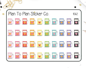 1062~~Watercolor Gas Pumps Planner Stickers.