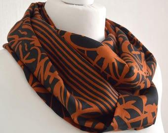 Orange Black Recycled Silk Sari Scarf  Indian Silk Infinity Scarf  Pure Silk Eternity Scarf  Handmade Scarf  Silk Scarf- CMCISE0288