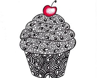 Cupcake Art Print, Zentangle Inspired Ink Drawing, Printable Art