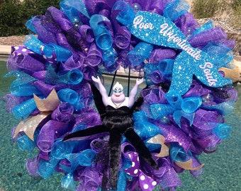 Disney Ursula Wreath - Ursula - Ursula Mesh Wreath - Ursula Wreath - Ursula Decor - Disney Ursula - Disney Wreath - Disney Decor - Disney