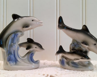 Vintage Dolphin Figurines - Pair of Collectible Fish - Blue Gray White Black - Retro Decor - Vintsge Home Decor - Mamas and Baby Dolphins