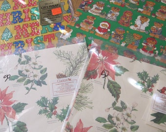 Variety Lot of Vintage Christmas Gift Wrap Lucy Riggs Calico Current