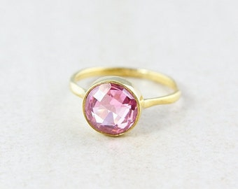 Gold Pink Quartz Ring - Gemstone Ring - Stacking Ring, Brilliant Round Cut