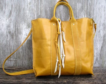 Leather Mini Tote Bag in Saffron by Stacy Leigh with Rustic Fringe Embellishment and Detachable Strap - Small Shoulder Bag - by Stacy Leigh