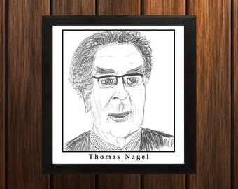 Thomas Nagel - Sketch Print - 8.5x9 inches - Black and White - Pen - Caricature Poster