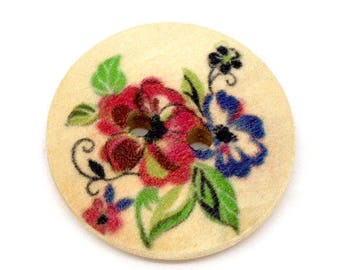 Lot 5 buttons wood Floral Theme (3) - 23 mm - 2 holes
