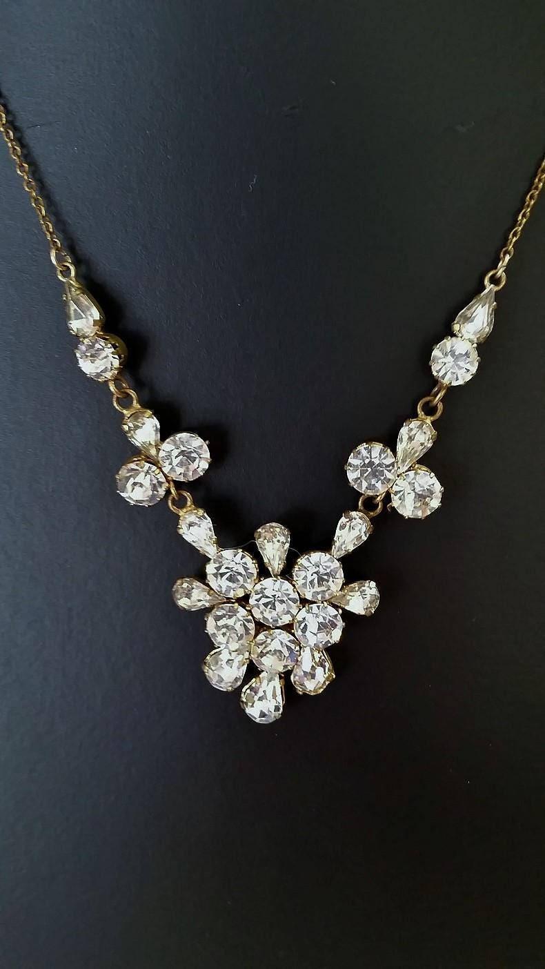 full set teardrop pendant. Vintage Teardrop Necklace. Clear Crystal Rhinestones, Brilliant Cut \u0026 Prong Set Full Pendant