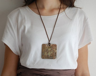 Raku ceramic Fashion pendant jewelry necklace handmade jewelry gift for women gift for her gold leather