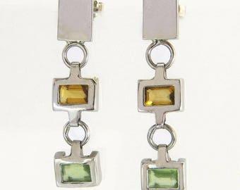 Designer Estate 1.60ct Peridot & Citrine 14k White Gold Dangle Earrings 5.2g