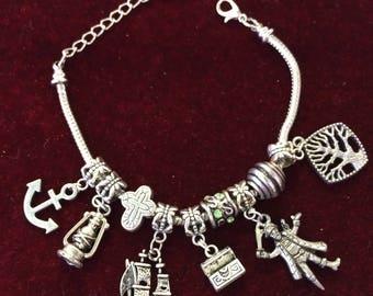 Pirate, Ahoy Matey, fashion, charm, silverplared, snake, bracelet  PIR1