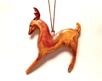 Gold and Bronze Christmas Deer Ornament, Hand-Sculpted in Marbled Polymer Clay